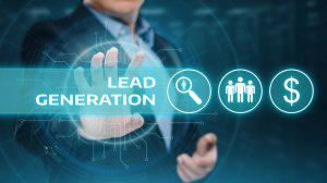 website lead generation graphic with icons